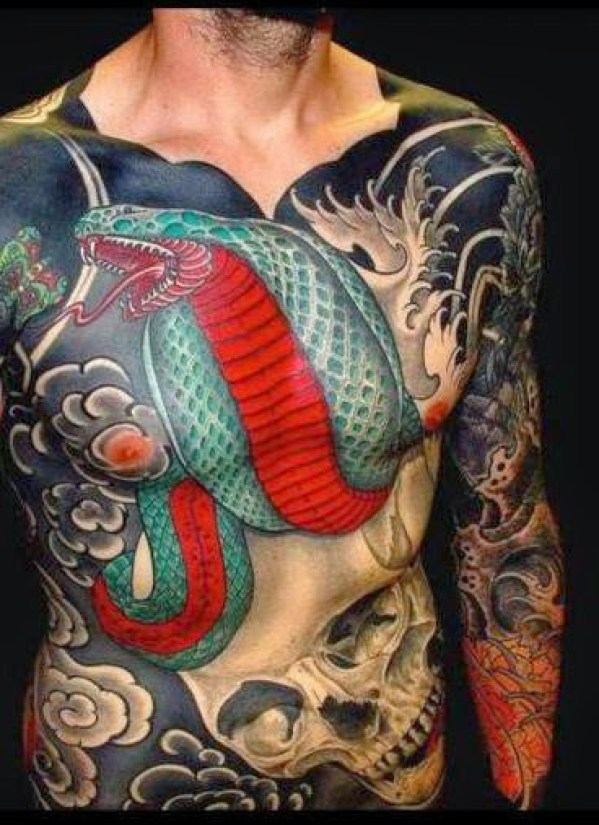 snake cover up Chest and stomach Tattoos for men