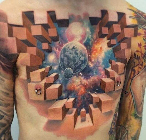 3d Chest piece Tattoos for men