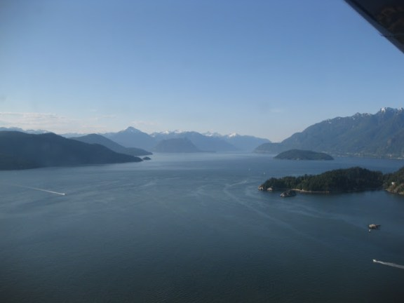 View over Horseshoe Bay, from a seaplane over Vancouver
