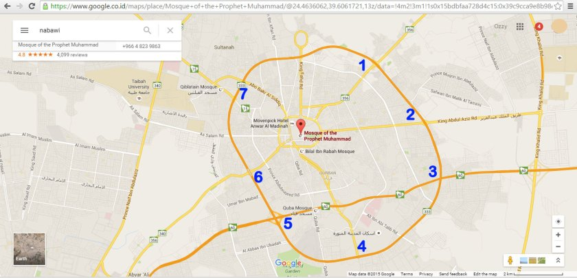 Gambar 7 Pintu Masuk Kota Madinah (Google Maps)