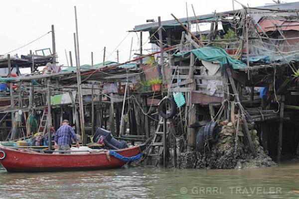 fishing villages, asian fishing villages, hong kong villages, lantau island houses on stilts, tai-o village