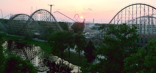 The wooden El Toro Coaster at sunset.  Emma's favorite ride EVER.