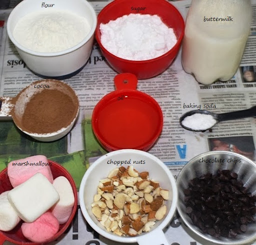 Eggless Rocky Road Brownies Recipe