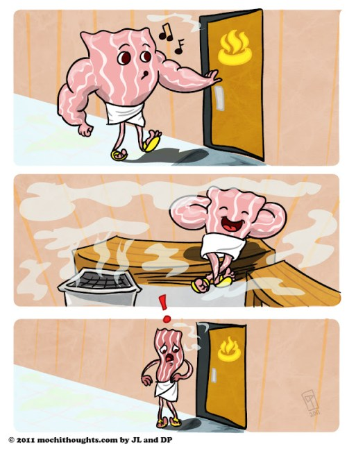 Cute Food Comic, Steaming Bacon