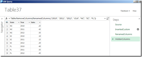 rename and hide unnecessary columns