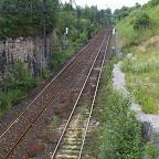Old railroad tracks.