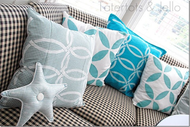 stenciled napkin pillows from the side