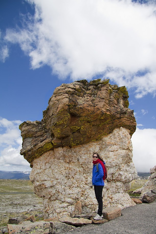 Renee infront of an Alpine Rock