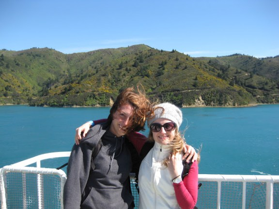 Meagaan and I enjoying the sunshine and views on the deck of the Interislander ferry