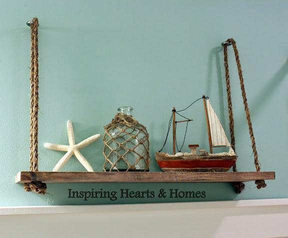 Swing Shelf, Rope Shelf, Nautical, Inspiring Hearts & Homes