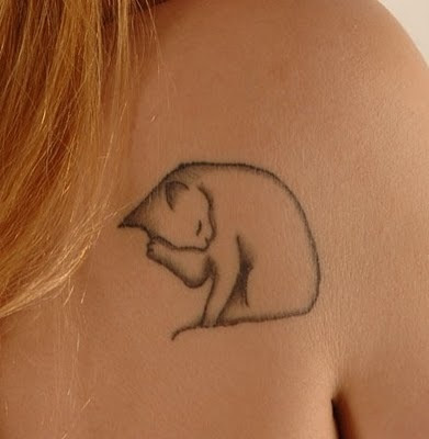 black cat tattoo design