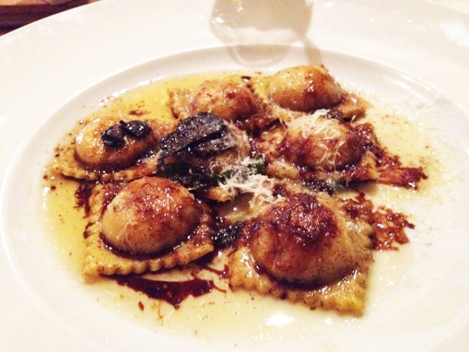Pumpkin + Ricotta Ravioli with Truffle Brown Butter at Oak, Boulder