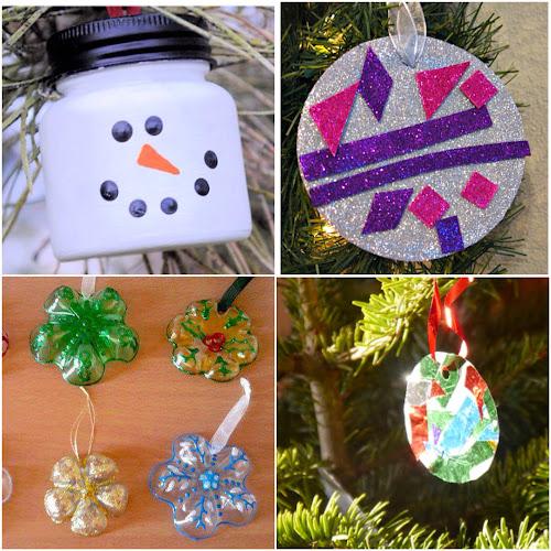 Ozdoby na vánoční stromeček vyrobeny z recyklovaných materiálů
