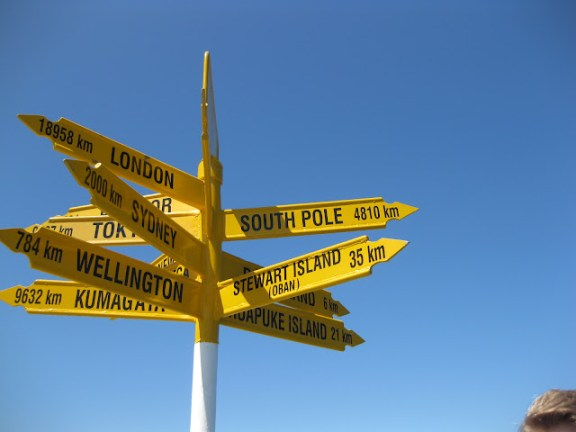 Signpost in Bluff, New Zealand