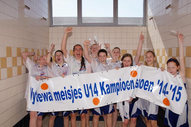 U14 meisjes Wytewa basketclub Roeselare kampioen