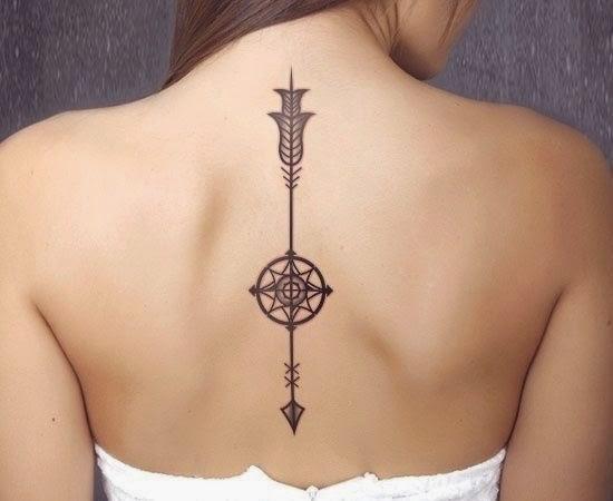 Arrow tattoos on back women