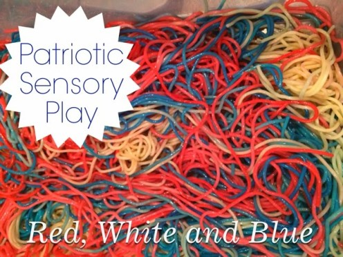 This patriotic sensory play is edible, making it the perfect way for kids of all ages to celebrate holidays. Red, white and blue play is perfect for this.