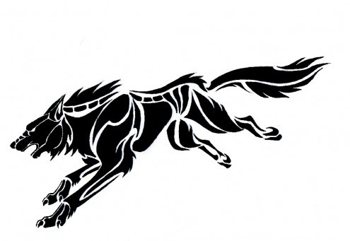 black Triabl wolf tattoo design