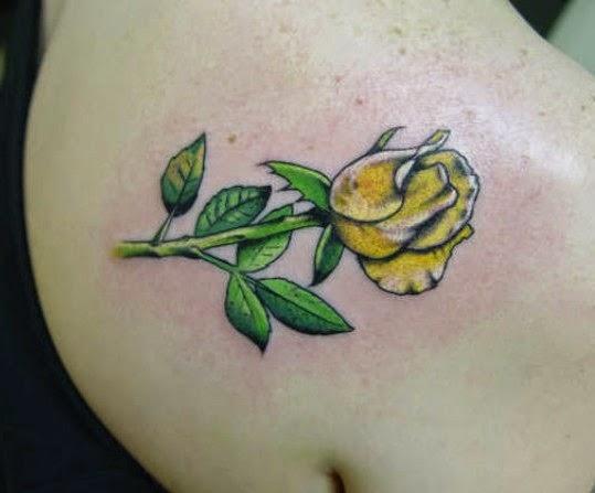 yellow rose tattoos