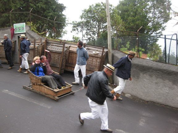 At the start of the toboggan ride in Funchal