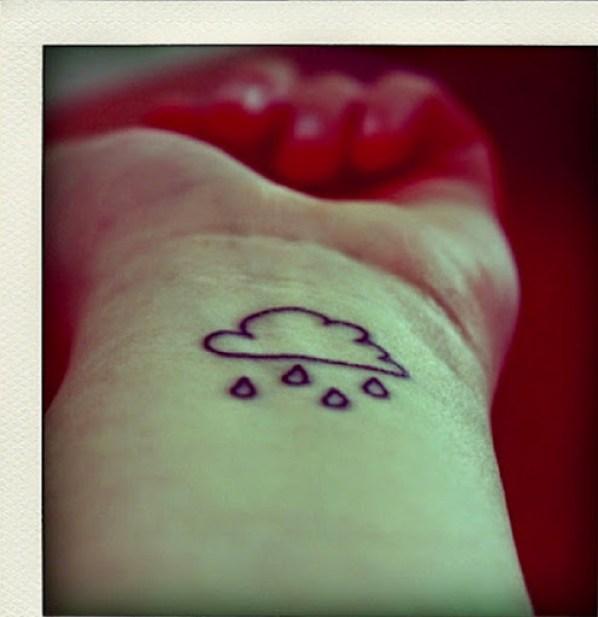 small cloud tattoo rain drops on wrist