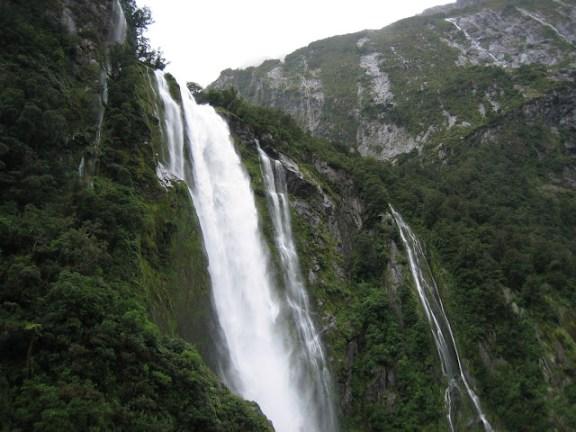 Waterfalls in Milford Sound, Fjordland
