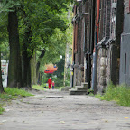 Typical sidewalk in one of the poorer districts of Chorzów Stary.