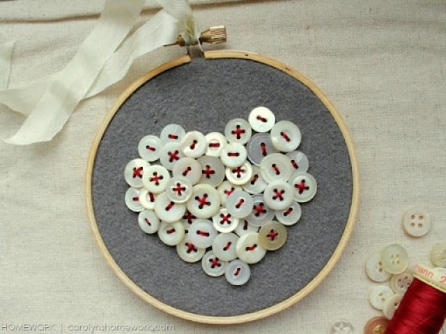 Vintage Button Heart via homework   carolynshomework.com
