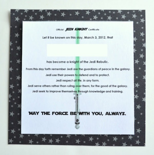 Star wars birthday party part two for Jedi certificate template free