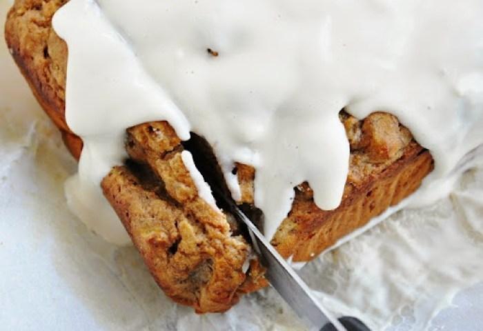 Spiced Rum Banana Nut Bread w.Cream Cheese Glaze (22)