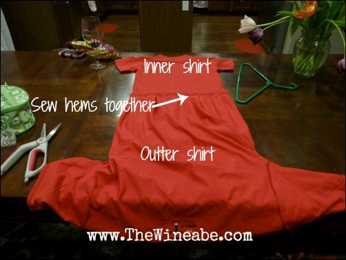 sew shirts together tomato costume