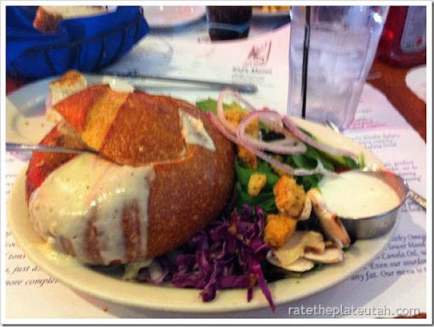 Pier Market Clam Chowder in Bread Bowl with Salad