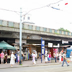 Public Market under elevated road, with town hall tower in the back.