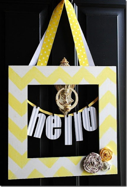 chevron hello wall hanging