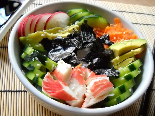 assembled sushi bowl