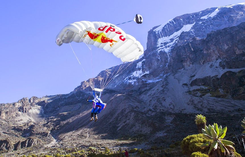 Valery Rozov performs at the Kilimanjaro BASE Jump in Tanzania on February 10th, 2015