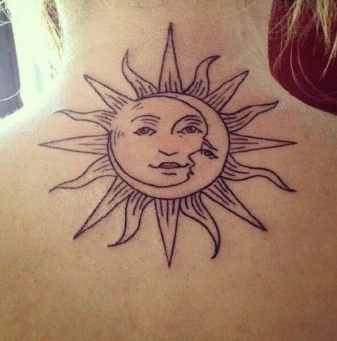 sun tattoos on neck