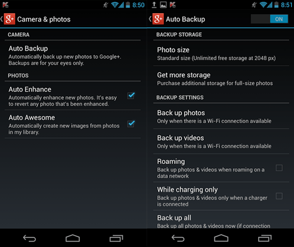Google Plus Auto Backup Jellybean 4.2.2