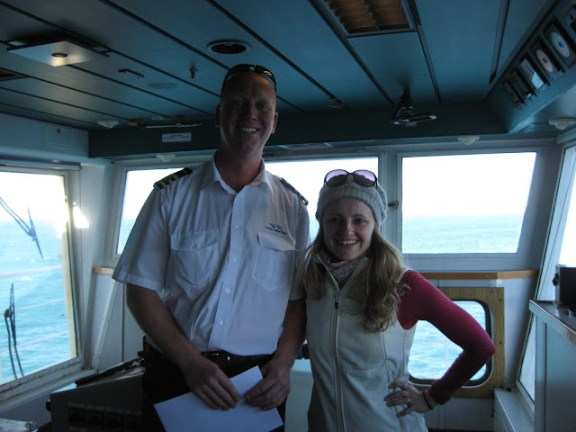 On the bridge of the Interislander ferry with the acting captain :)