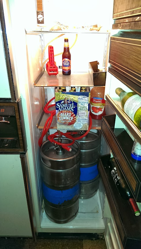 Kegs in the fridge