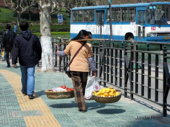 A banana vendor in Nanjing