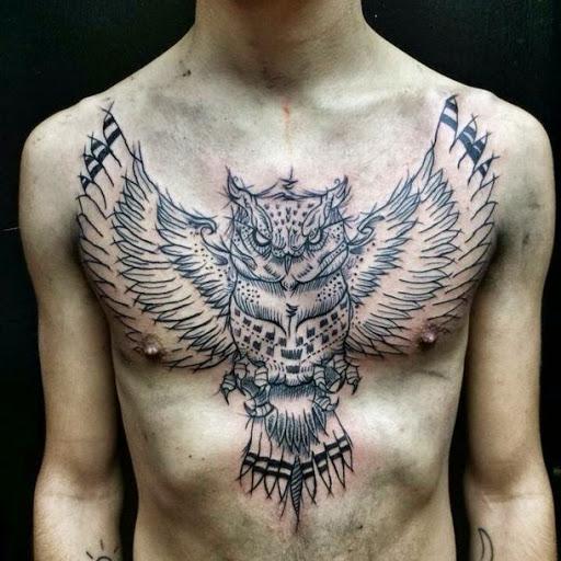 Owl tattoos on chest for men