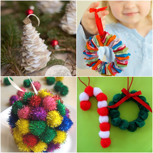 Vánoční ozdoby z filcu a pompom vyrobeny dětma