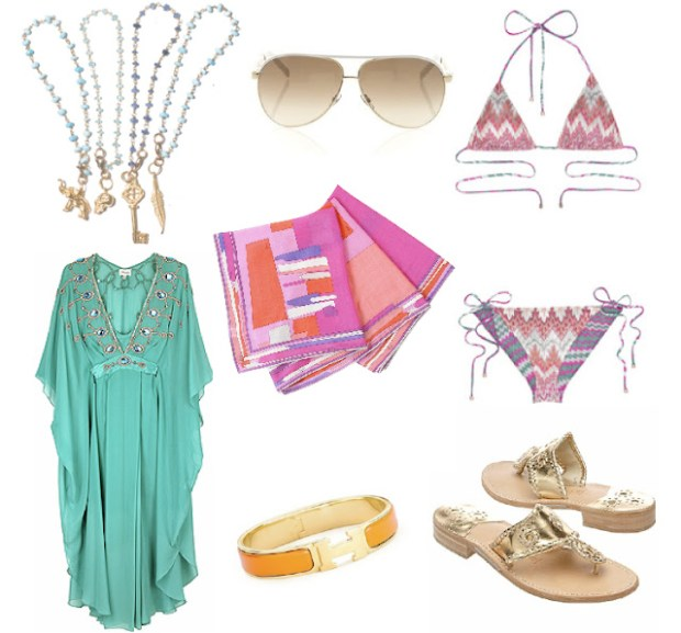 Summer Essentials, Gucci Aviators, Emilio Pucci Scarf, Missoni Bikini, Hermes Bangle, Jack Roger Navajo Sandals, Temperley London Tunic