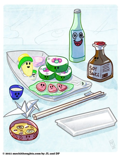 Cute Food Comic Sushi Party