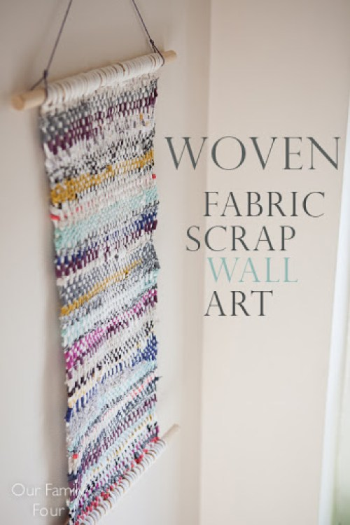 Woven Fabric Scrap Wall Art  Our Family Four