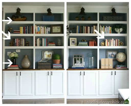 How to accessorize bookcases from Thrifty Decor Chick how to decorate bookshelves