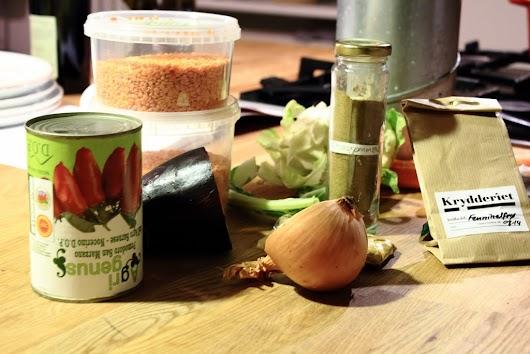 Ingredienser til dhal-inspireret linsegryde