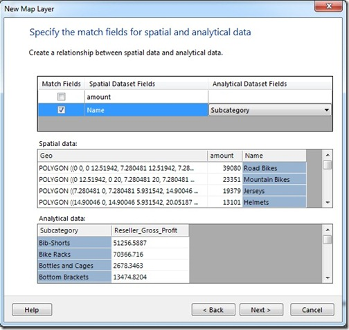 Specify the match fields