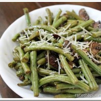 Eat In Recipe:  Roasted Balsamic-Parmesan Green Beans & Mushrooms